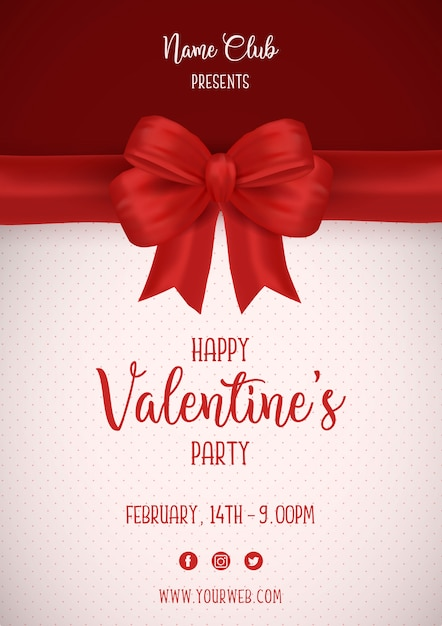 Valentine's day poster with red bow Free Vector