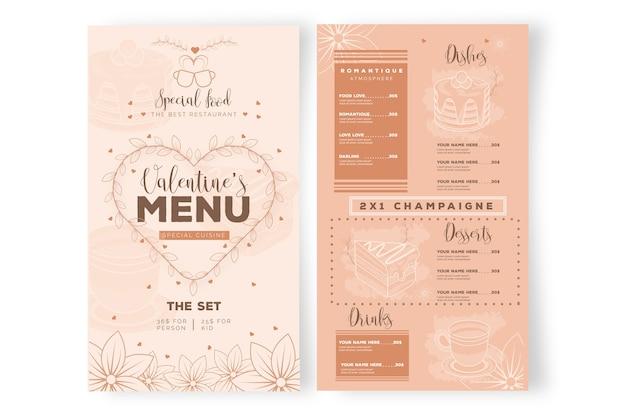 Valentine's day restaurant menu template Free Vector