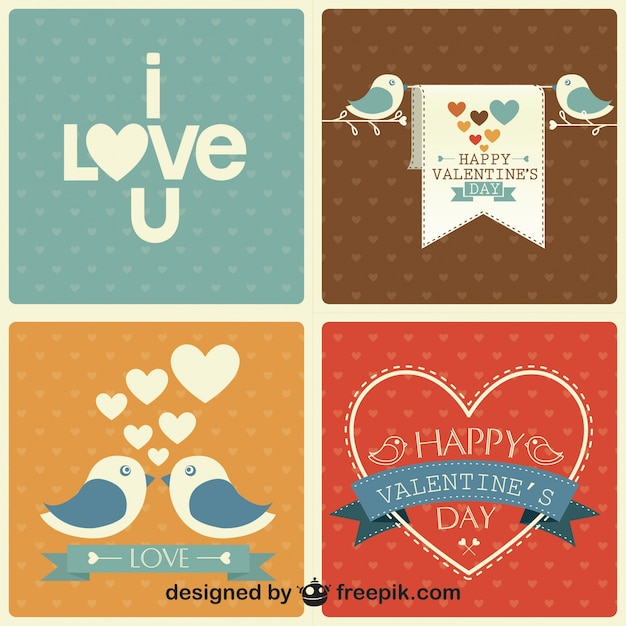 Valentine's Day Retro Set  Free Vector