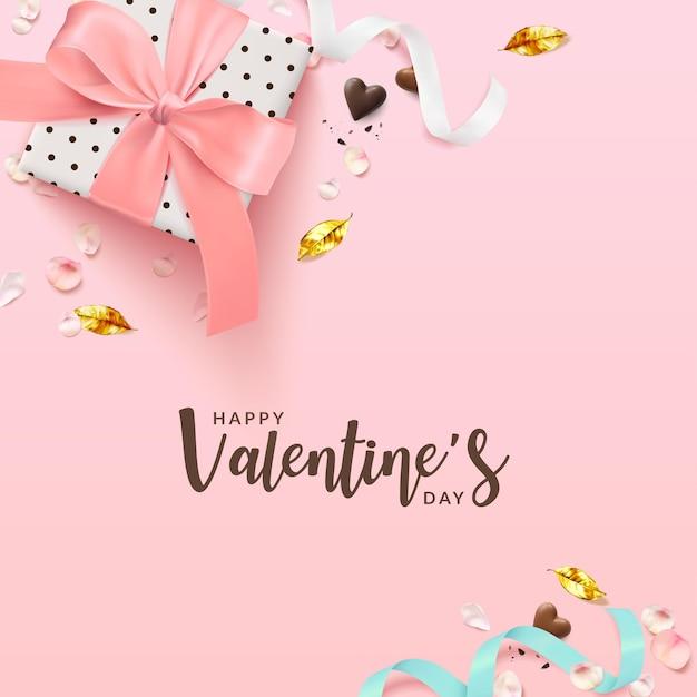 День святого валентина романтический плакат фон квадрат. Premium векторы