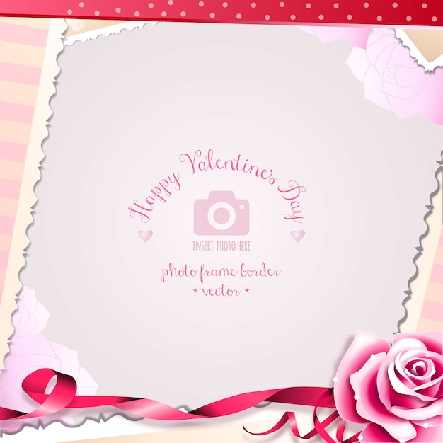 Valentine\'s Day Rose and Romantic Hearts Photo Frame Vector   Free ...