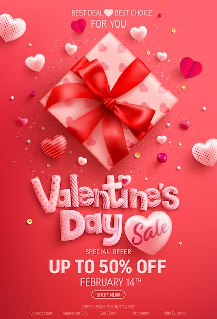 Распродажа ко дню святого валентина со скидкой 50%, баннер с милой подарочной коробкой и сладкими сердечками на красном Premium векторы