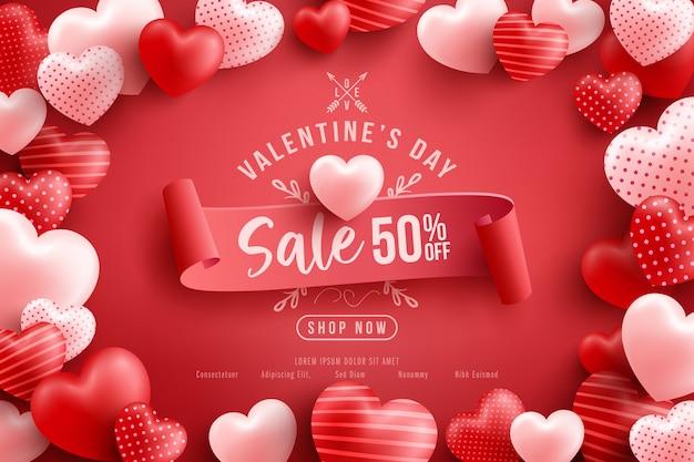 발렌타인 데이 판매 50 % 할인 포스터 또는 배너 많은 달콤한 마음과 빨간색. 홍보 및 쇼핑 템플릿 또는 사랑과 발렌타인 데이 프리미엄 벡터