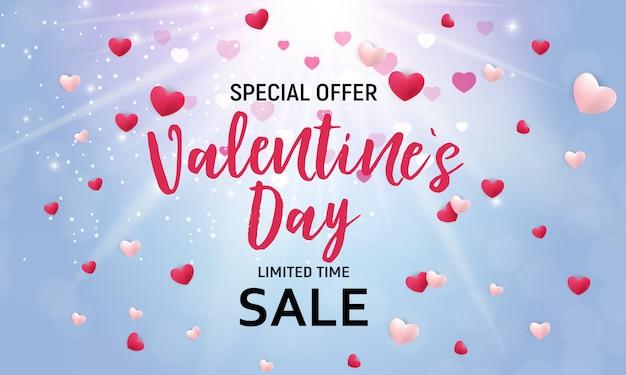 Valentine's day sale background Premium Vector