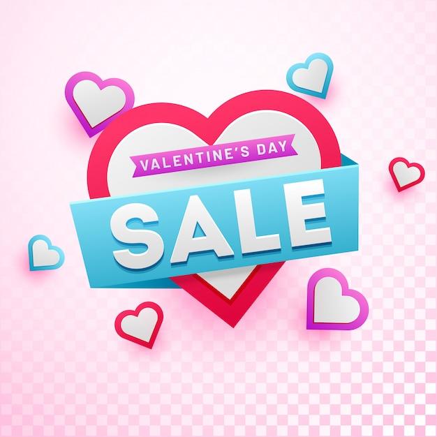Valentine's day sale background. Premium Vector