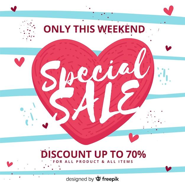 Valentine's day sale background Free Vector