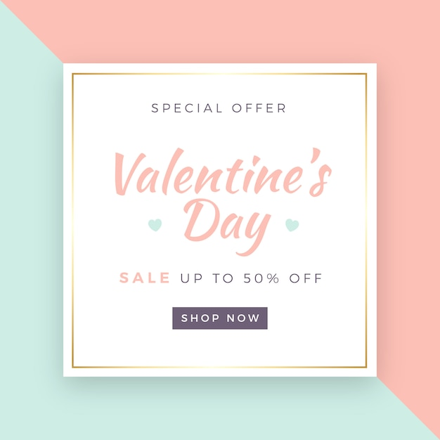 Valentine's day sale background Free Vector