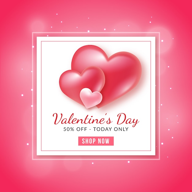 Valentine's day sale background Premium Vector