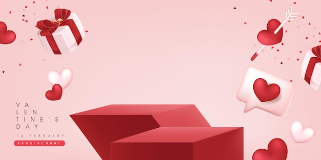 Valentine's day sale banner backgroud with product display . Premium Vector