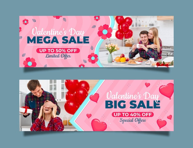 Valentine's day sale banners collection Free Vector