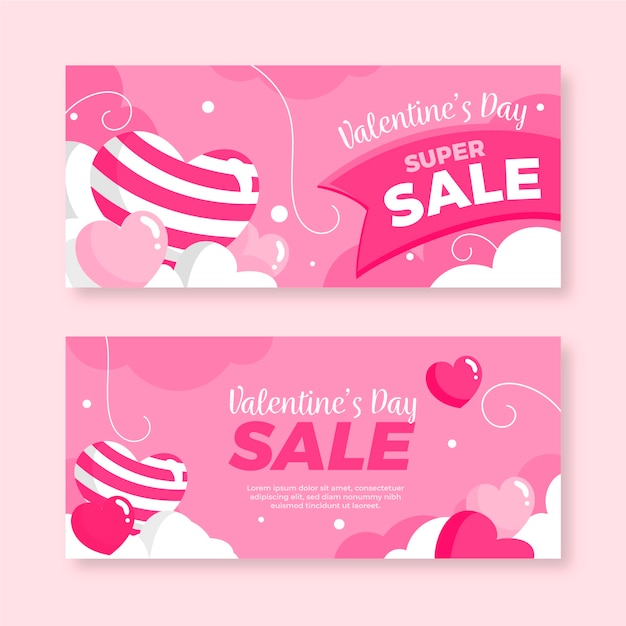 Valentine's day sale banners flat design Free Vector