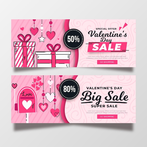 Valentine's day sale banners hand drawn style Free Vector