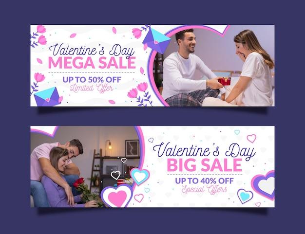 Set di banner di vendita di san valentino Vettore gratuito