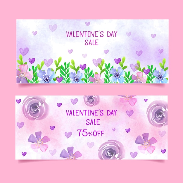 Valentine's day sale banners with florals Free Vector
