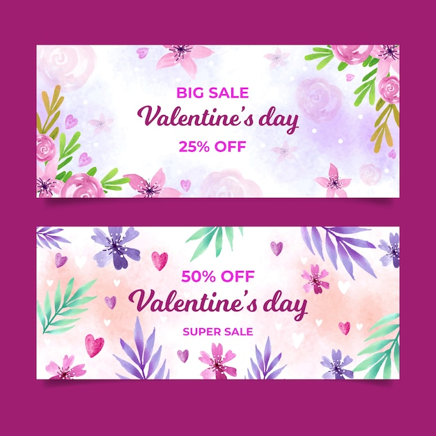 Valentine's day sale banners with flowers Free Vector