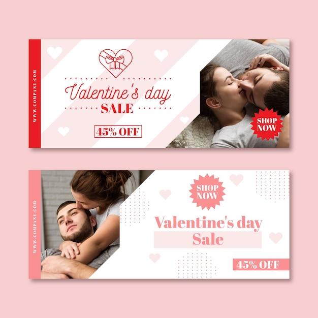 Banner di vendita di san valentino con foto Vettore gratuito
