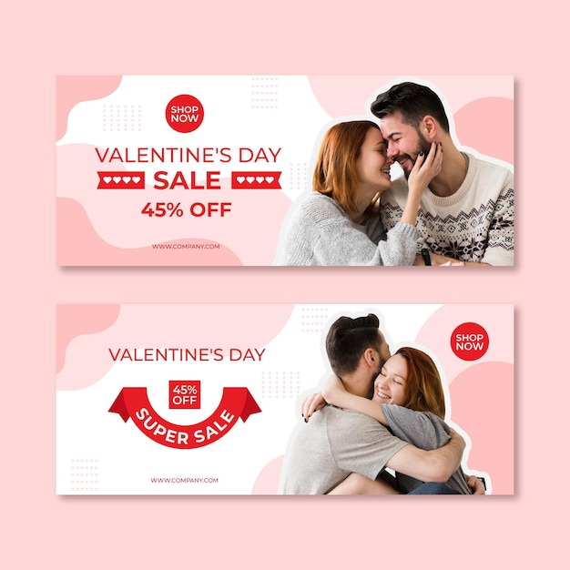 Valentine's day sale banners with photo Free Vector