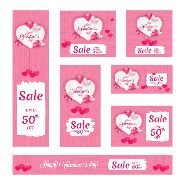 Valentine's day sale banners. Premium Vector