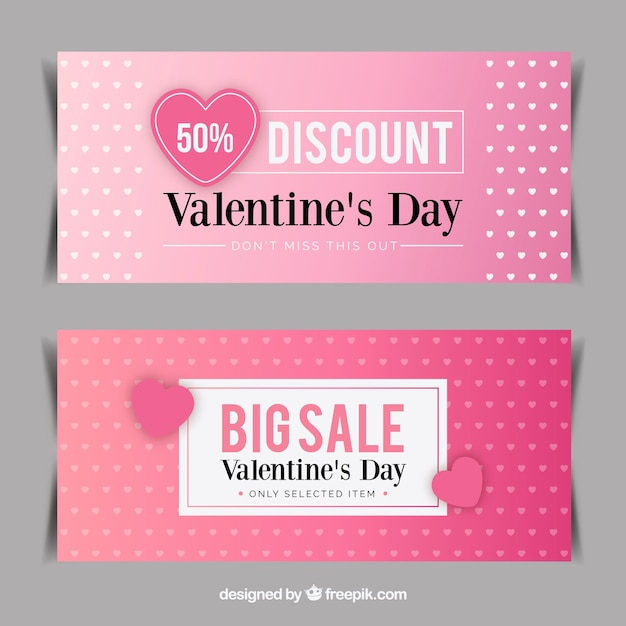 Valentine\'s day sale banners