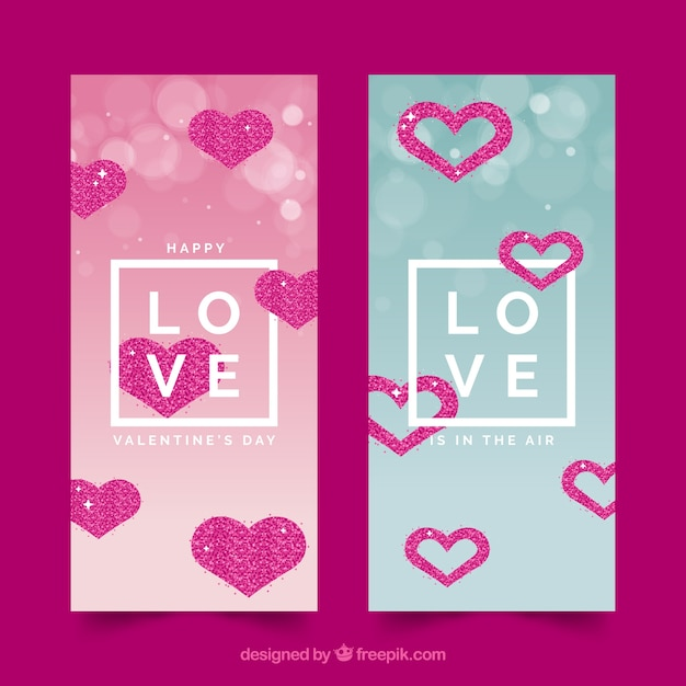 valentines day sale banners free vector