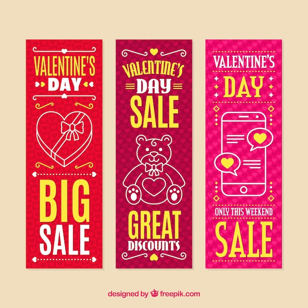 Valentine's day sale banners Free Vector
