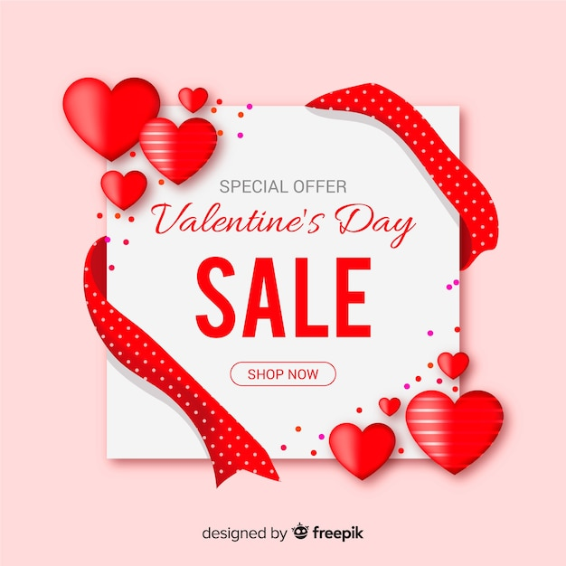 Valentine's day sale card Free Vector