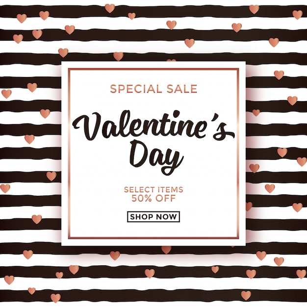 Valentine's Day Sale Design With Striped Background