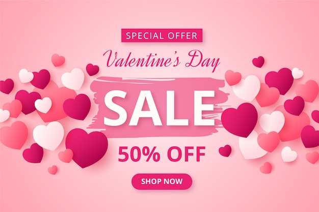 Valentine's day sale in flat design Free Vector