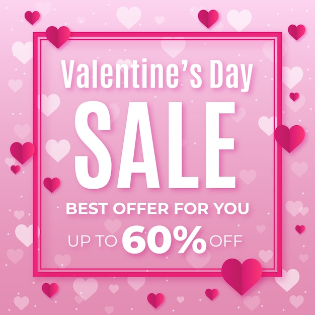 Valentine's day sale in flat design Free Vector