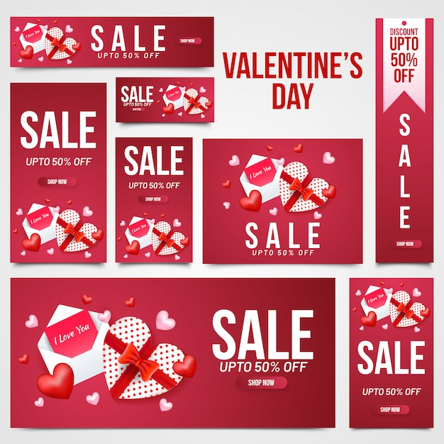Valentine's day sale header, banner and template set with illust Premium Vector