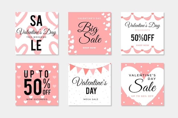 Valentine's day sale instagram post collection Free Vector