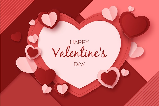 Valentine's day sale in paper style with heart shapes Free Vector