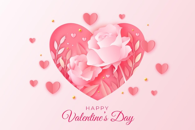 Valentine's day sale in paper style Free Vector