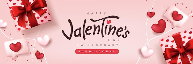 Valentine's day sale poster or banner backgroud with gift box and heart. Premium Vector