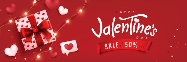 Valentine's day sale poster or banner red backgroud with gift box and heart. Premium Vector