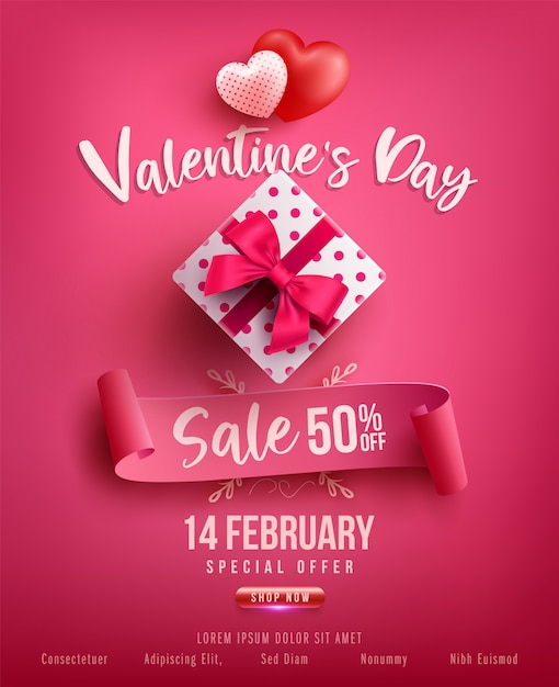 Valentine S Day Sale Poster Or Banner With Sweet Gift Sweet Heart