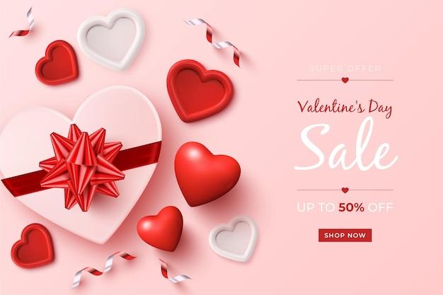 現実的な要素を持つバレンタインデーのセールプロモーション 無料ベクター