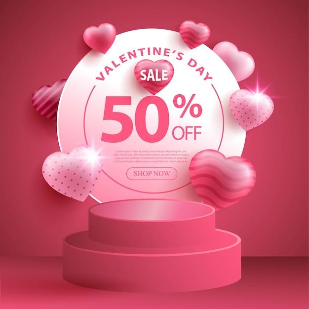 Рекламный баннер ко дню святого валентина с реалистичным очагом или формой любви и 3d-подиумом Бесплатные векторы