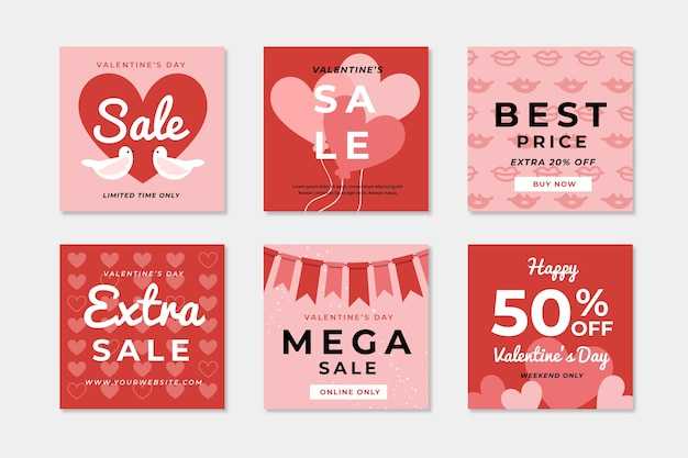 Valentine's day sale social media post collection Free Vector