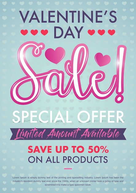 Valentines Day Sale Special Offer Print Flyer Template Vector