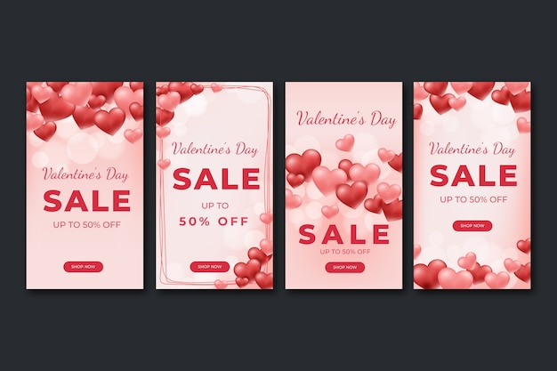 Valentine's day sale story collection Free Vector