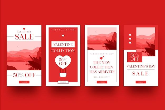 Set di storie di vendita di san valentino Vettore gratuito