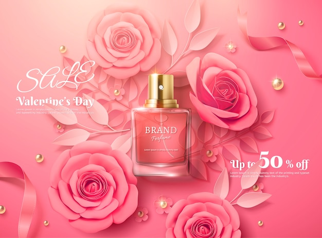Valentine's day sale template with pink paper flowers and perfume product in 3d illustration, top vi