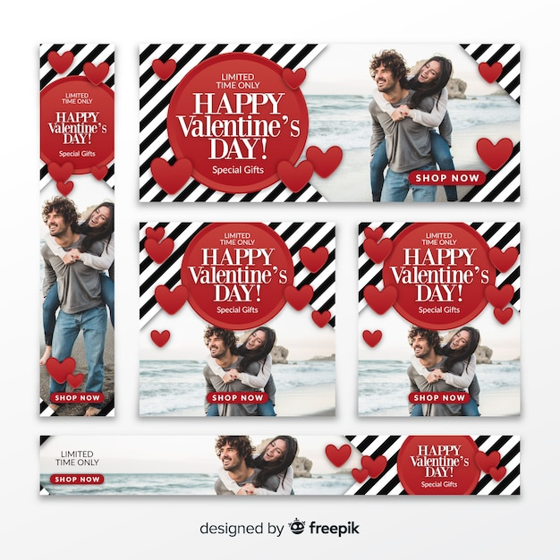 Valentine's day sale web banners Free Vector