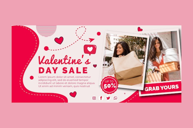 Valentine's day sales horizontal banner template Free Vector