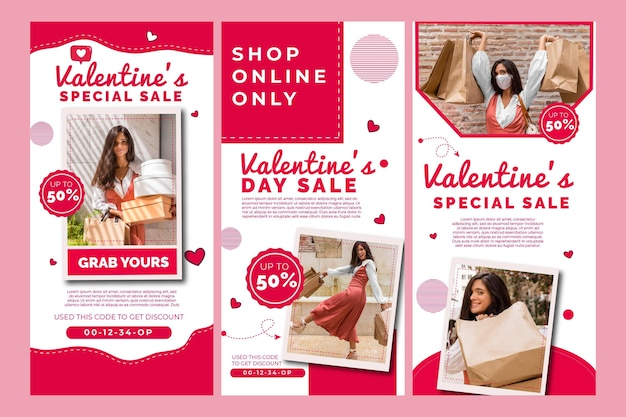 バレンタインデーセールインスタグラムストーリーコレクション 無料ベクター