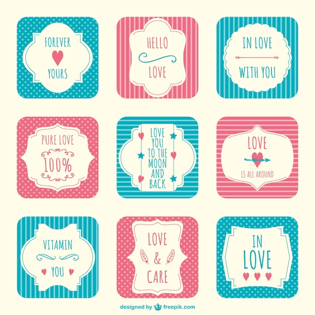 Valentines Day Scrapbook Stickers Vector Free Download