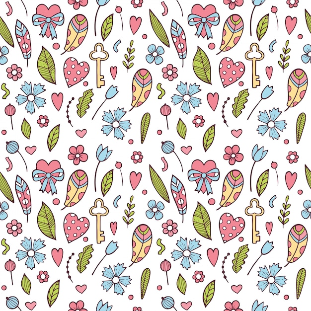 Valentine's day seamless pattern with colorful flowers Premium Vector