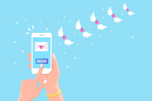 Valentine's day . send or receive love sms, letter, email with mobile phone. white cellphone in hand  on background. flying envelope with red heart, wings. Premium Vector