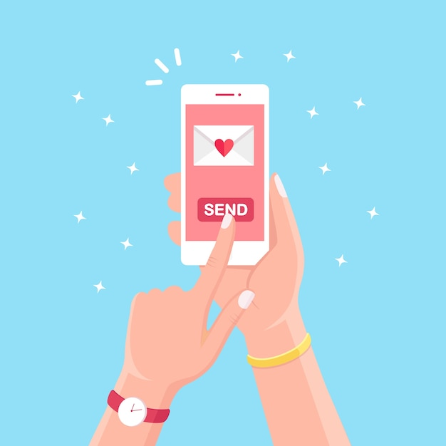 Valentine's day . send or receive love sms, letter, email with white mobile phone. human hand hold cellphone, smartphone  on background. envelope with red heart. Premium Vector